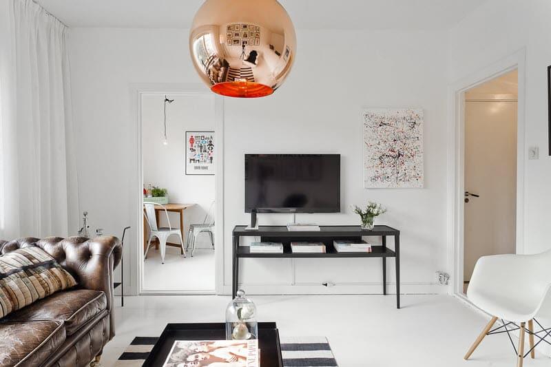 377ft2 Scandinavian Studio Apartment In Black And White