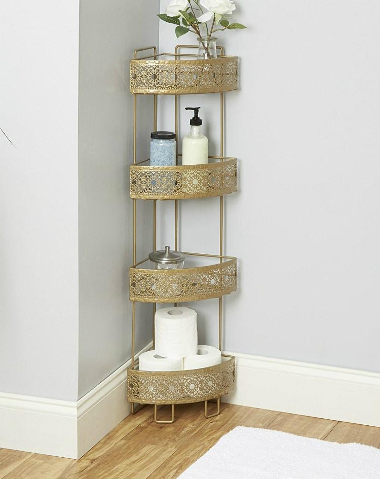 Filigree Bathroom Collection Corner Caddy Gold