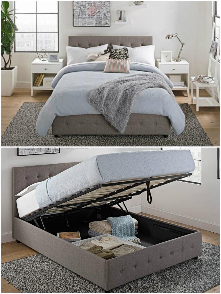 Cambridge Gas Lift Full Linen Bed , Gray