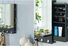 Black Cabinet Mirror with Hidden Sliding Jewelry Door and Hanging Hooks