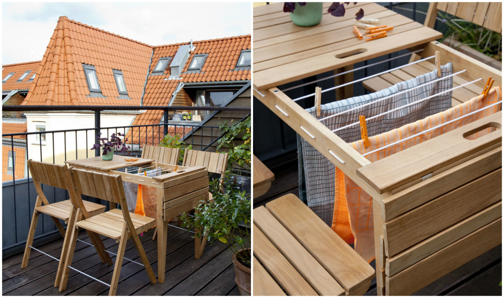 balcony table transforms into drying rack living in a shoebox. Black Bedroom Furniture Sets. Home Design Ideas