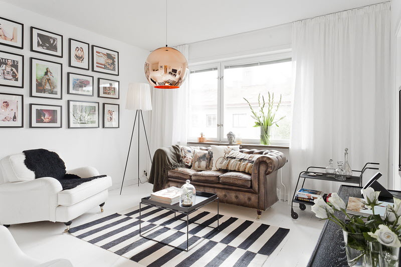 377ft2 Scandinavian studio apartment in black and white - Living ...