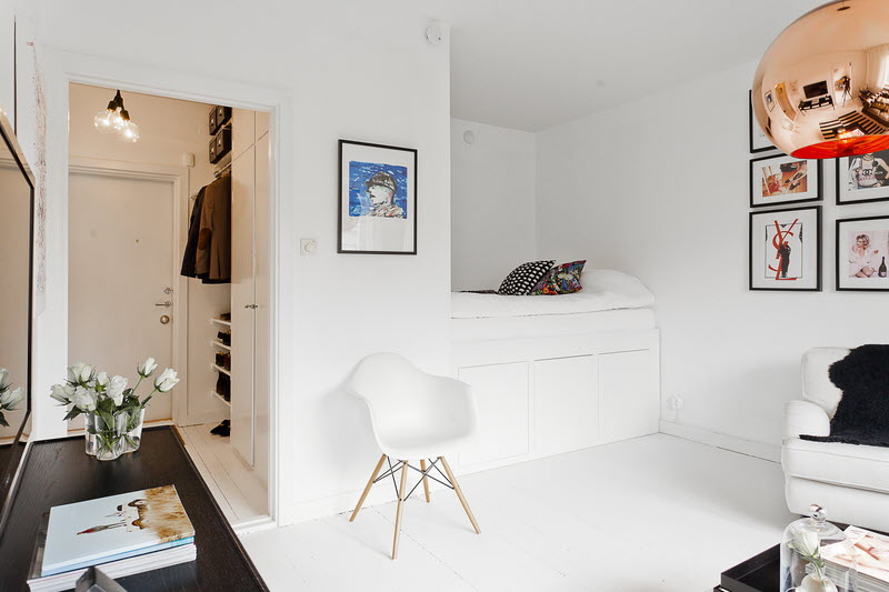 377ft2 scandinavian studio apartment in black and white