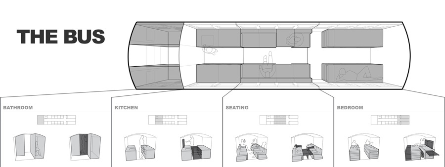 Converted bus 1 - Architecture student converts school bus into mobile home