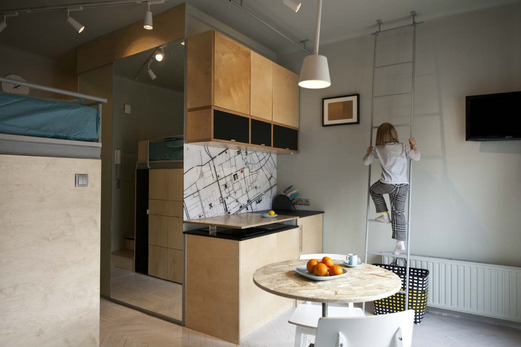 Mother son and dog living large in a 273 ft2 apartment for Tiny apartment kitchen solutions