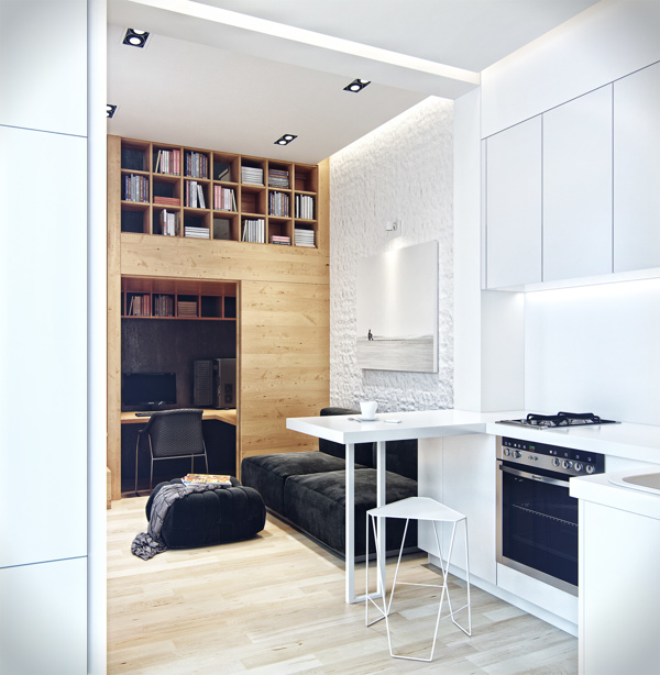 Small loft apartment with hidden office solution living for 35m2 apartment design