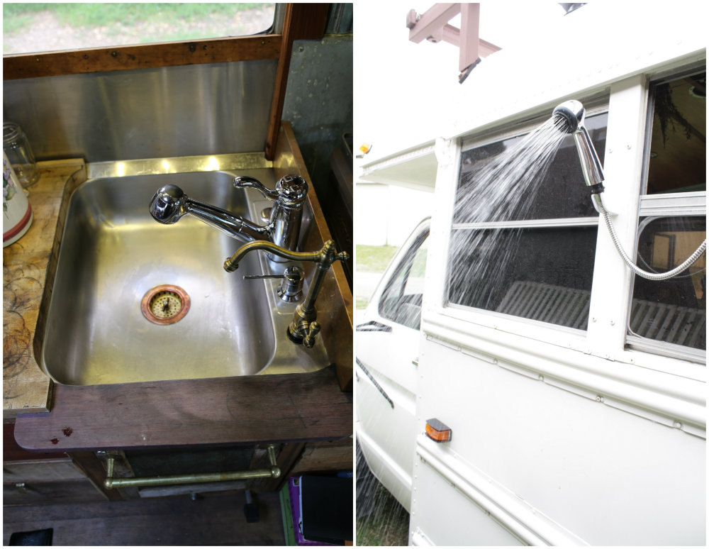 Bus home shower sink - Guisepi lives in a school bus and serves the community and tea