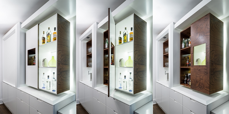 The transforming partywall goes from full bar to intimate for Apartment design guide part 5