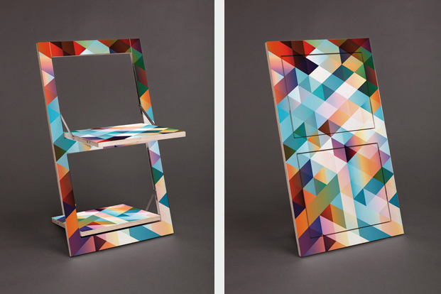 Folding chair klappstuhl flaepps motiv criss cross rotSeven folding chairs that actually look good   Living in a shoebox. Decorative Folding Chairs. Home Design Ideas