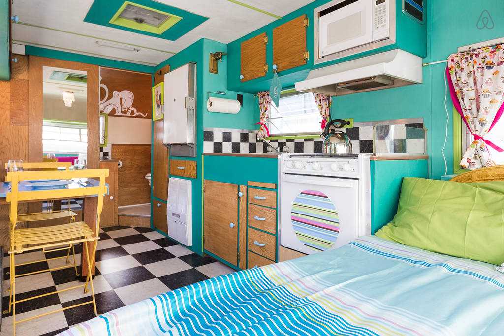 this restored vintage caravan went from cupcake truck to delightful holiday home living in a. Black Bedroom Furniture Sets. Home Design Ideas