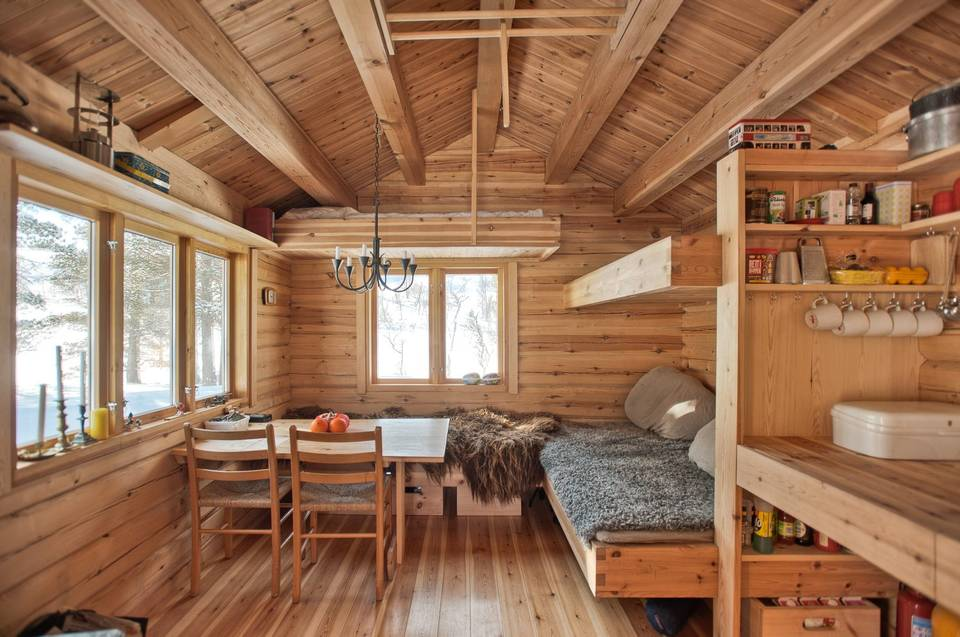 This 118 Ft2 Small Norwegian Ski Cabin Comfortably
