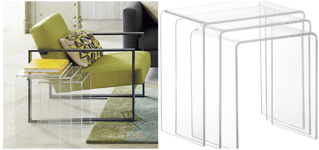 Twelve Fabulous Nesting Tables That Work Great In Cramped Quarters - Clear nesting tables