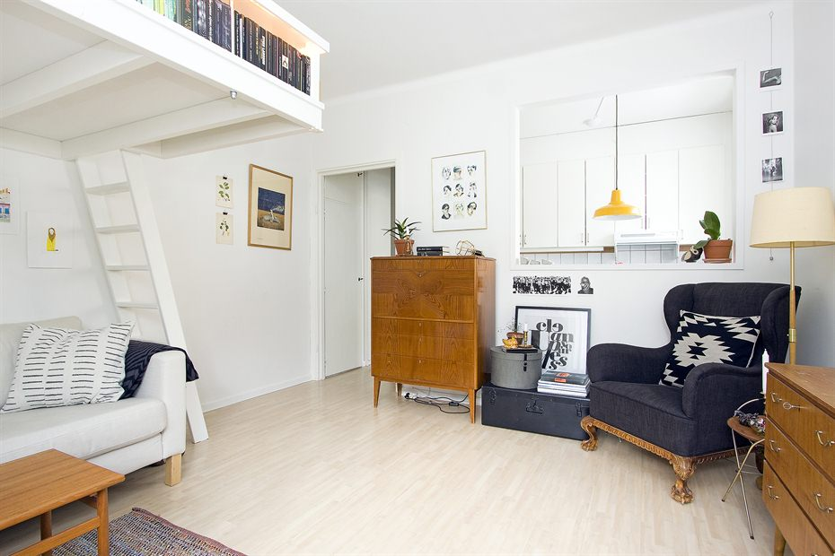 Small Swedish Studio Apartment Elegantly Combines Loft Bed