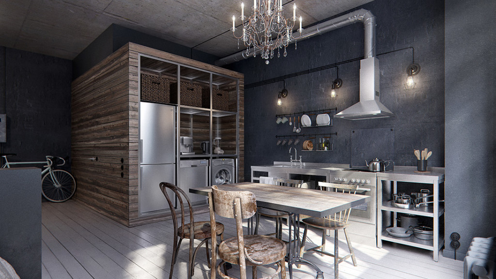 In this 431 ft2 industrial chic apartment the bathroom for Apartment design 40m2
