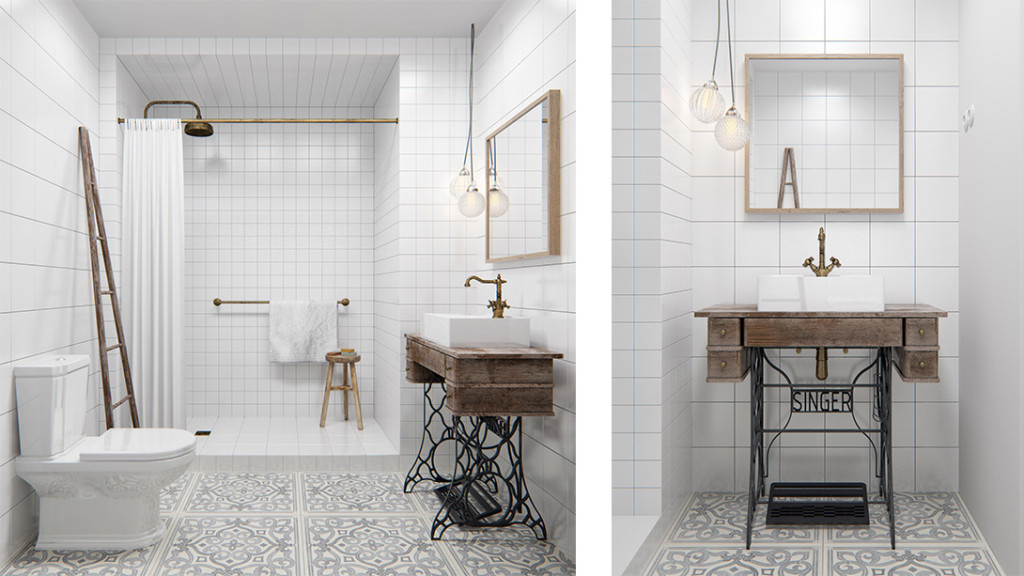 In this 431 ft2 industrial chic apartment the bathroom for Pisos living decoracion