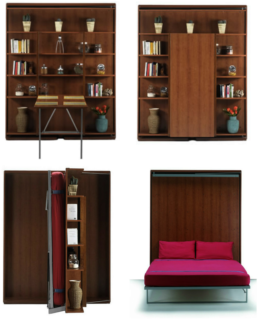 Bookcase, bed and dining table in one space-saving unit - Living ...