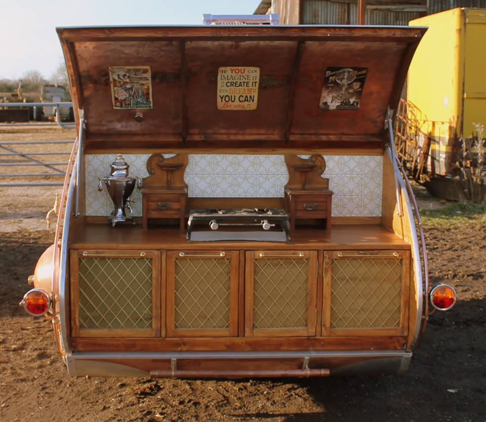 """steampunk teardrop dave moult 10 - Fantastic-looking steampunk teardrop trailer comes equipped with a chandelier and """"library"""""""