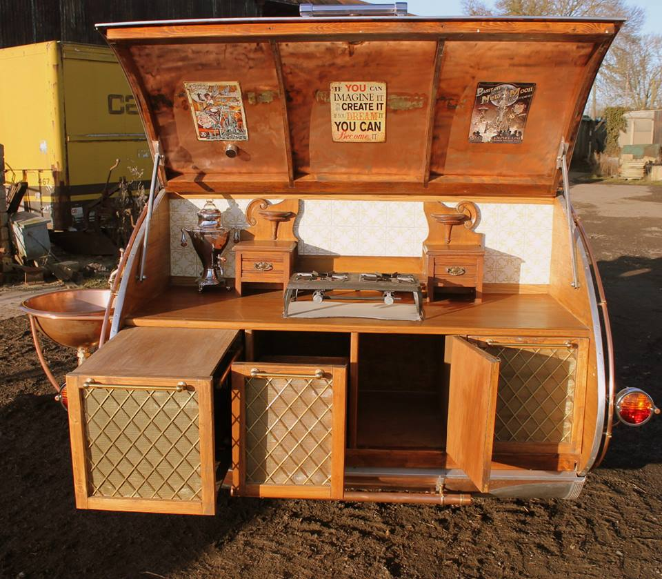 """steampunk teardrop dave moult 11 - Fantastic-looking steampunk teardrop trailer comes equipped with a chandelier and """"library"""""""