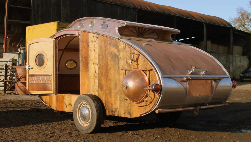 """steampunk teardrop dave moult 2 - Fantastic-looking steampunk teardrop trailer comes equipped with a chandelier and """"library"""""""