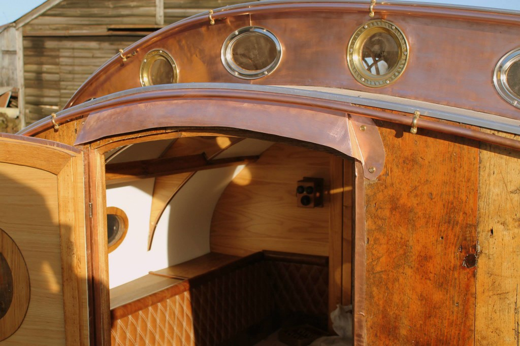 """steampunk teardrop dave moult 3 - Fantastic-looking steampunk teardrop trailer comes equipped with a chandelier and """"library"""""""