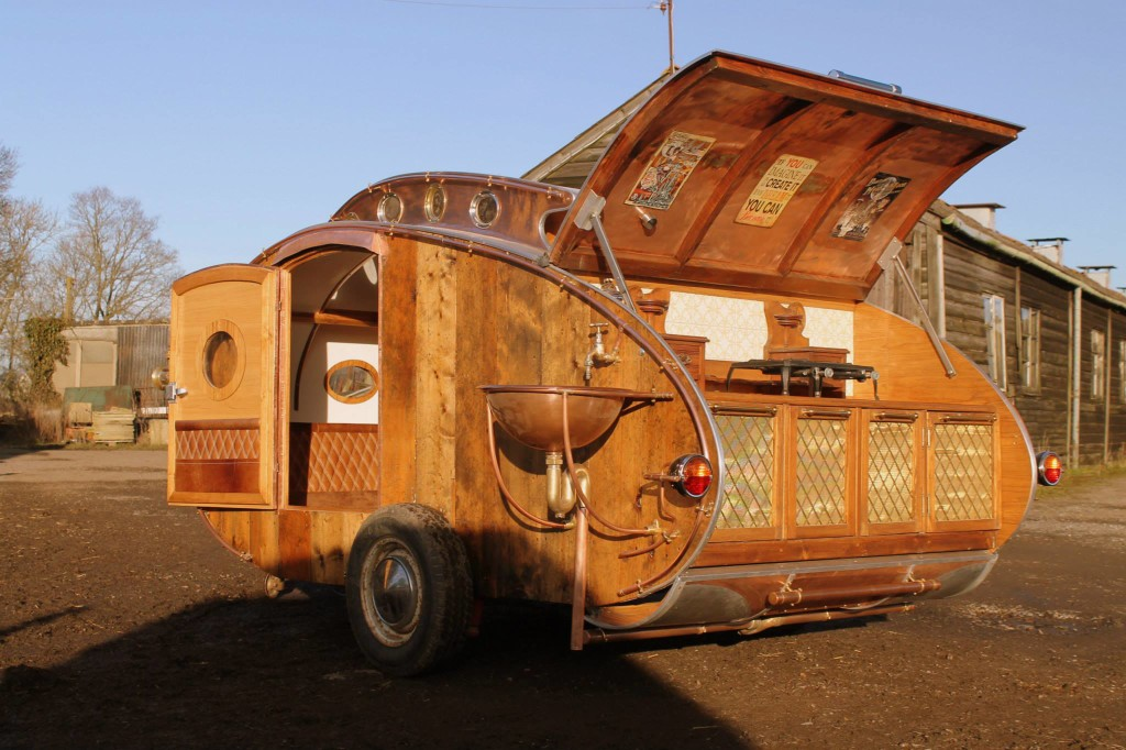 """steampunk teardrop dave moult 8 - Fantastic-looking steampunk teardrop trailer comes equipped with a chandelier and """"library"""""""