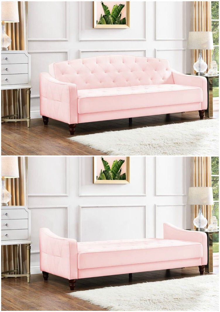 Vintage Tufted Sleeper Sofa Living In A Shoebox