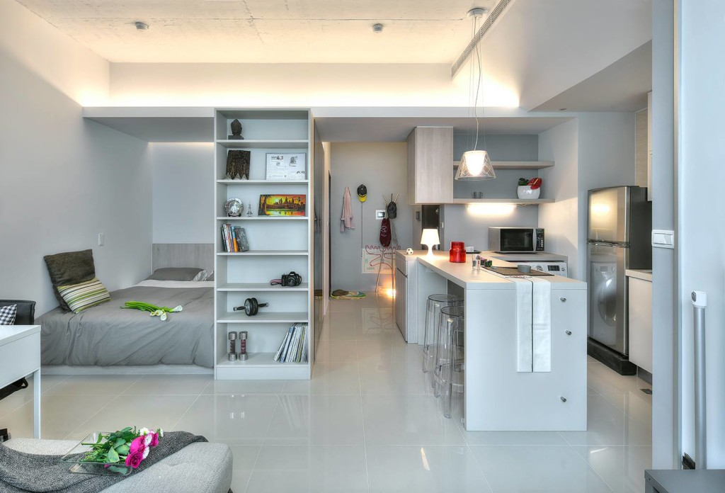 A 345 square foot open plan apartment spiced with a dash for Amenagement petite cuisine appartement