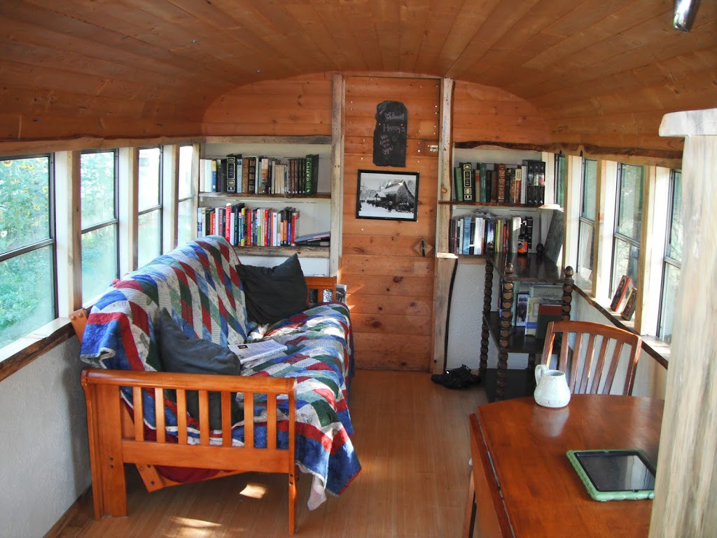 Katherine lives happily in a converted school bus with her ...