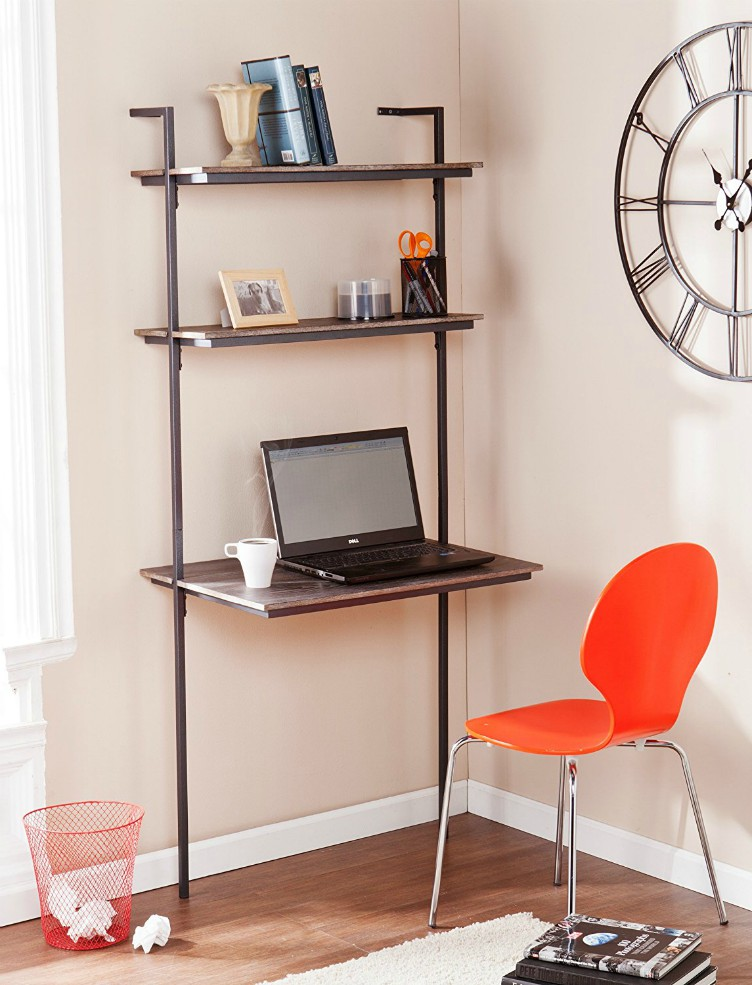 Space saver computer desk Space Efficient Wallmounted Desk 17410this Desk Has Broad Work Space And Two Generous Shelves And The Burnt Oak Finish Gives This It Modern Feel While The Open Living In Shoebox Ten Spacesaving Desks That Work Great In Small Living Spaces