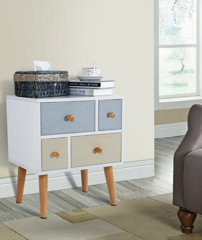 Lifewit Side End Table Nightstand Bedroom Living Room Table Cabinet With 4  Drawers, White