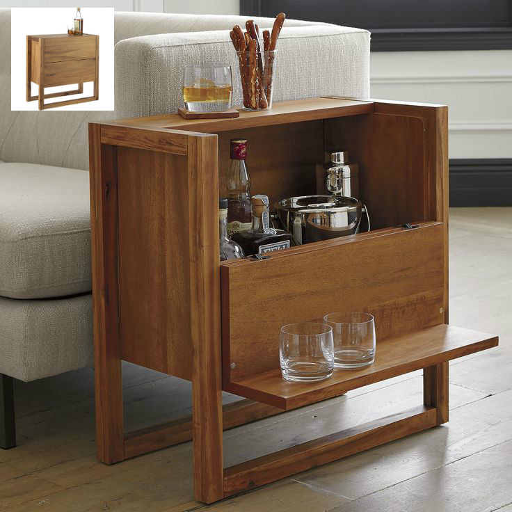 The kind of space-saving design we flip for. Designed by Leonhard Pfeifer,  two-in-one coffee table/mini bar is at your service on a micro footprint. - 17 Trendy Coffee And Side Tables With Integrated Storage - Living