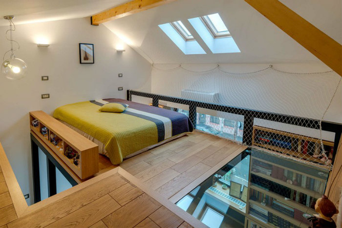 This Lofted Bedroom Boasts A Glass Floor Living In A Shoebox