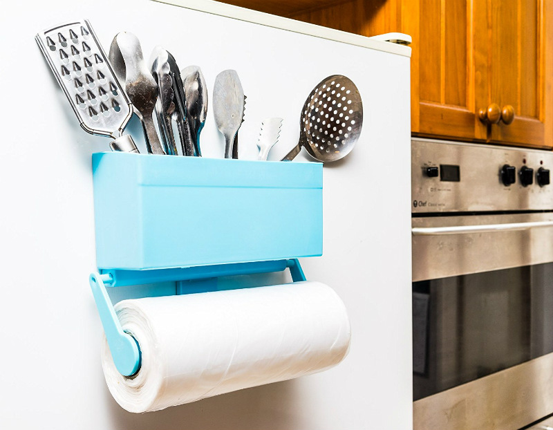 kitchen-buddy-magnetic-paper-towel-holder-for-refrigerator-with-multipurpose-storage-rack-organizer