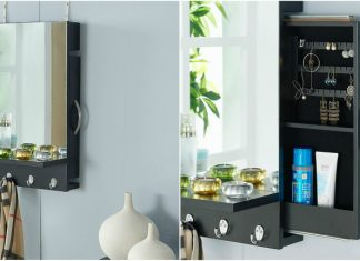 Black Cabinet Mirror with Hidden Sliding Jewelry Door and Hanging Hooks