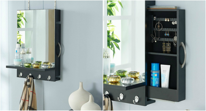 Black-Cabinet-Mirror-with-Hidden-Sliding-Jewelry-Door-and-Hanging-Hooks