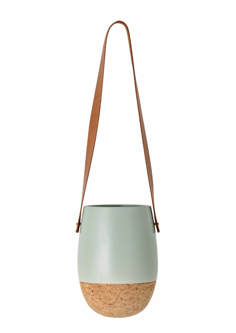 SABLE HANGING FLOWER POT, MINT AND CORK
