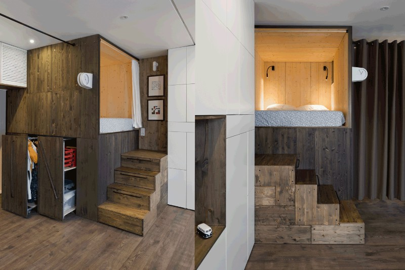 Studio Bazi small flat 11 - The designer's small studio apartment features an ingenious loft bed packed with storage