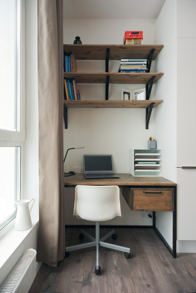 Studio Bazi small flat 15 - The designer's small studio apartment features an ingenious loft bed packed with storage