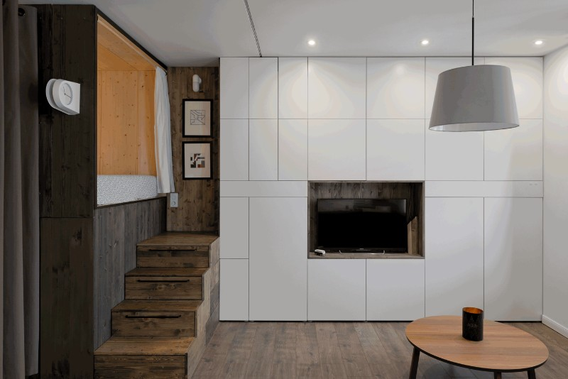 Studio Bazi small flat 5 - The designer's small studio apartment features an ingenious loft bed packed with storage