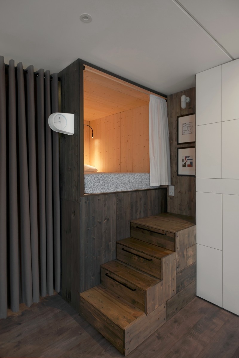 the designer s small studio apartment features an