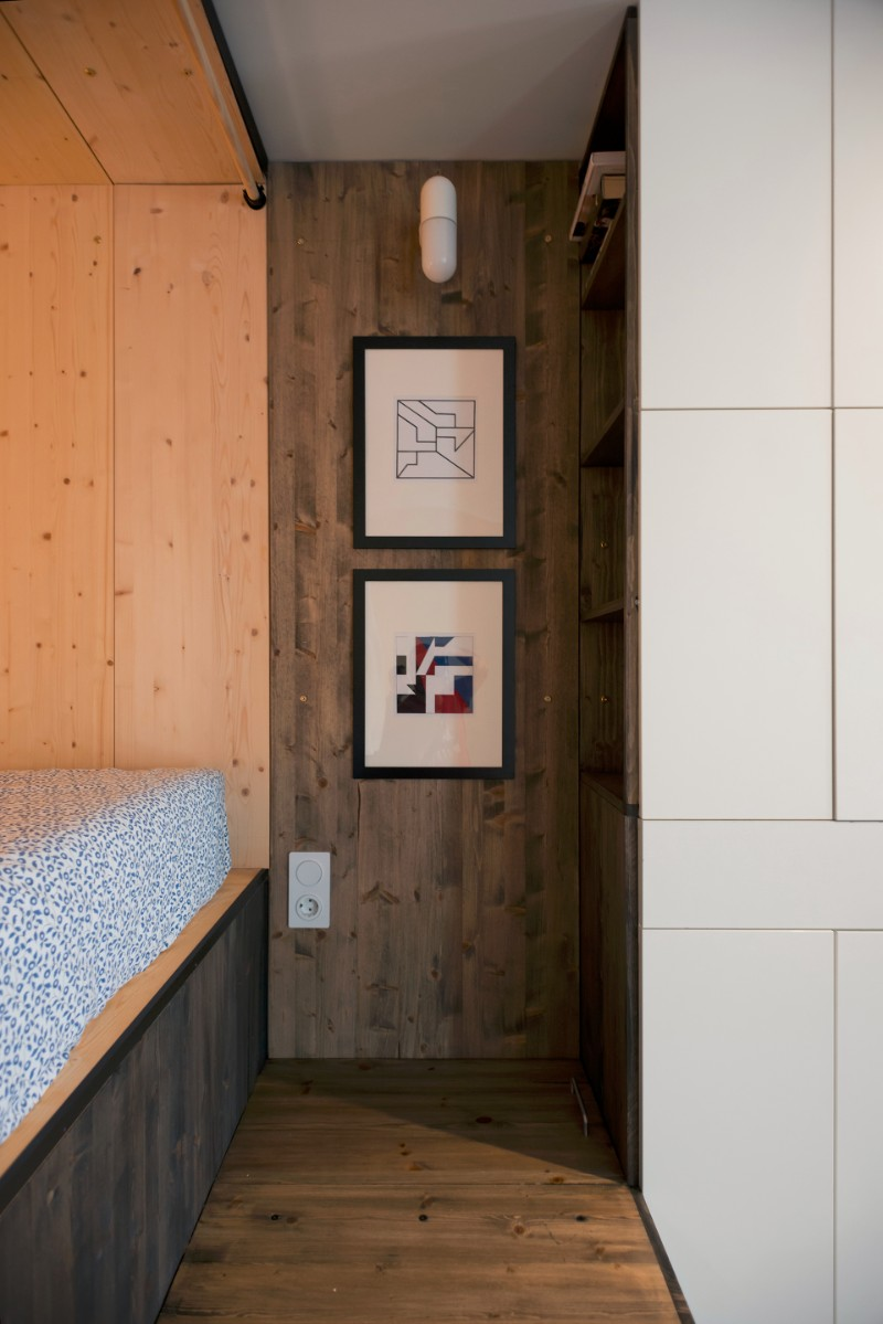 Studio Bazi small flat 9 - The designer's small studio apartment features an ingenious loft bed packed with storage