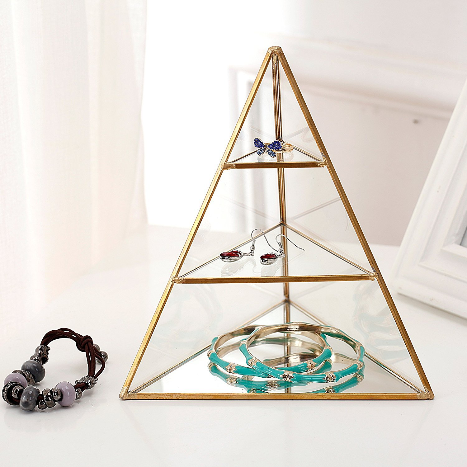 3 Tier Glass Pyramid Jewelry Stand Display Case with Vintage Style Brass Tone Metal Frame