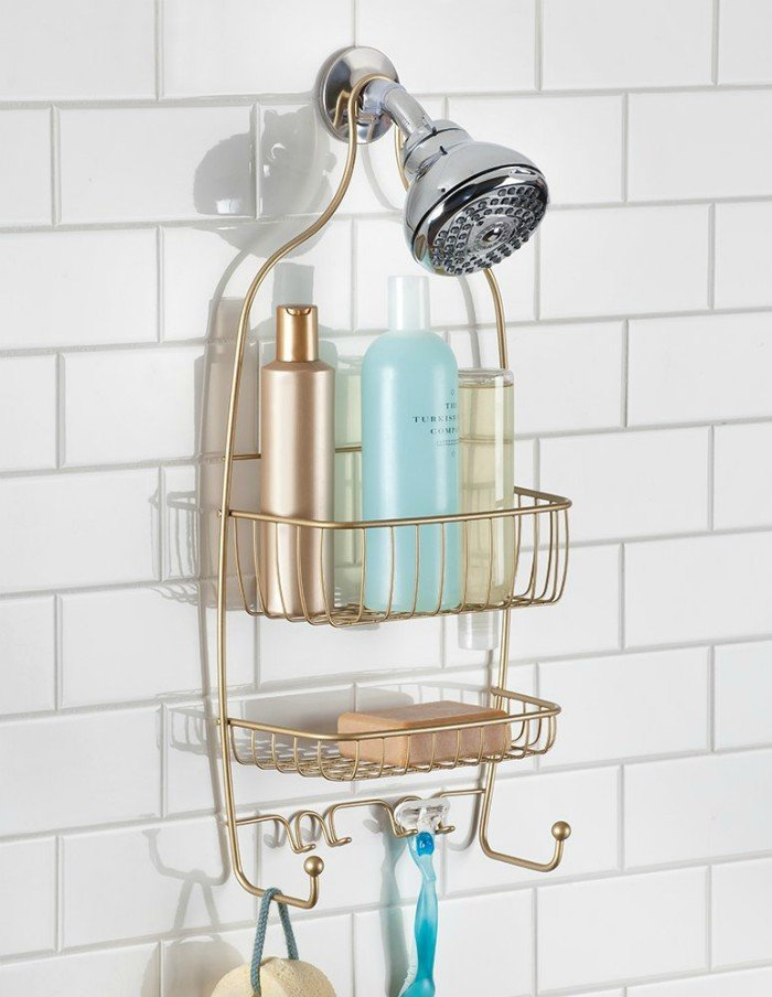 20 ways to bling up your home with copper gold and brass for Bathroom accessories shampoo holder