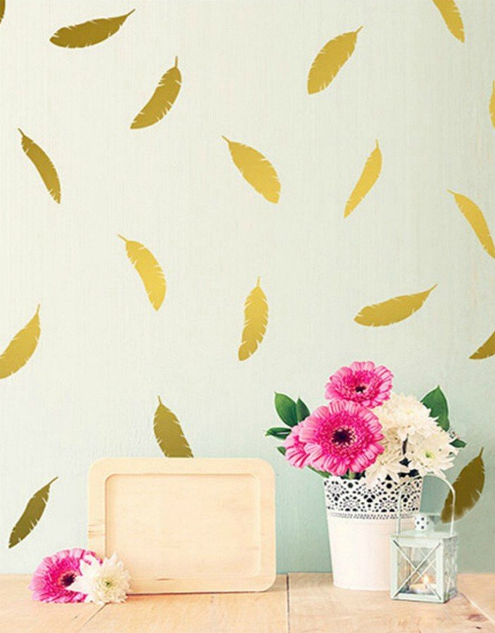 Edtoy Feather Mural Wall Stickers Vinyl Decals Decor