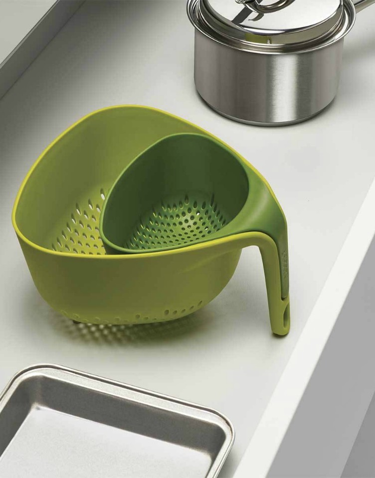 Nest Colanders. This set of two colanders stand upright to make washing  and draining even easier, the two sizes are perfect for draining different  foods at ...