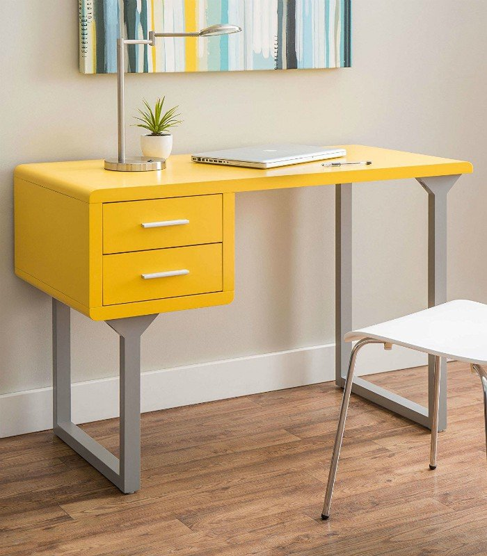 Modern Retro Style Yellow and Gray Writing Desk with 2 Storage Drawers