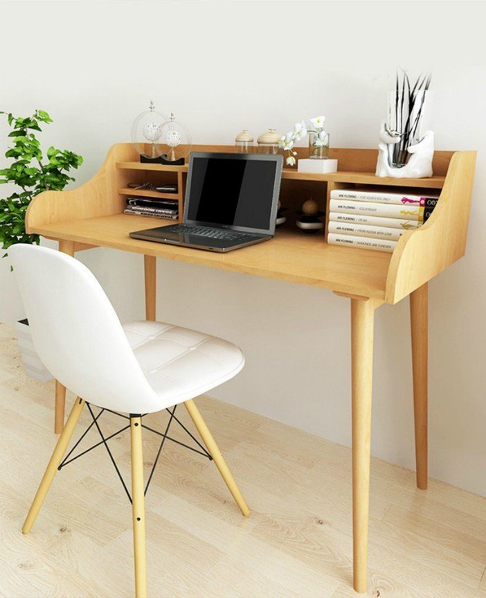 Soges Computer Desk 47 Solid Wood Desk Home Office Desk Mid-century Desk Writing Table