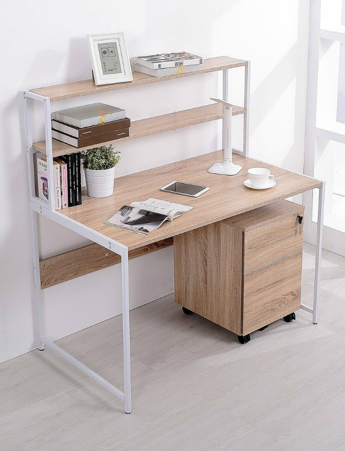 TOPSKY Computer Desk with Bookshelf Deep Modern Design