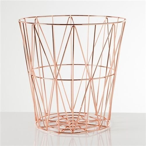 Torre & Tagus 902116B Diamond Weave Storage Basket, Rose Gold, Large