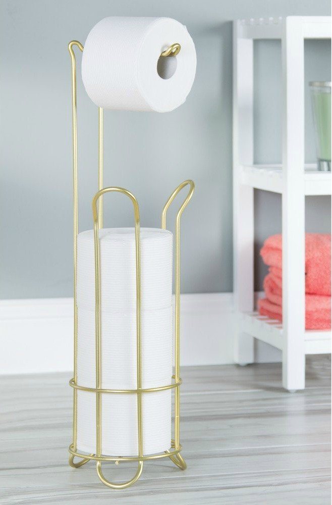ree Standing Toilet Paper Holder for Bathroom Storage